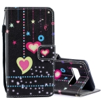 Colored Heart Pattern Horizontal Flip Leather Case for Galaxy S10+, with Holder & Card Slots & Wallet