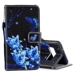 Blue Flower Pattern Horizontal Flip Leather Case for Galaxy S10+, with Holder & Card Slots & Wallet
