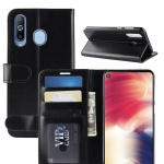 R64 Texture Single Fold Horizontal Flip Leather Case for Galaxy A8S, with Holder & Wallet & Card Slots & Photo Frame(Black)