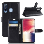 Litchi Texture Horizontal Flip Leather Case for Galaxy A8S, with Wallet & Holder & Card Slots (Black)