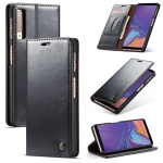 CaseMe-003 PU + PC Business Style Crazy Horse Texture Horizontal Flip Leather Case for Galaxy A7 (2018), with Holder & Card Slots & Wallet (Black)