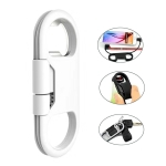 Multi-function 20cm USB to Micro USB Data Sync Charging Cable & Bottle Opener & Keychain (White)