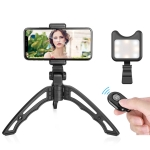 APEXEL Portable Handheld Lazy Live Broadcast Desktop Folding Universal Bluetooth Tripod Phone Holder with Flashlight