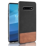 Shockproof Color Matching Denim PC + PU + TPU Case for Galaxy S10+ (Black)