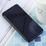 PU Electroplating Mirror Horizontal Flip Leather Case for Galaxy S10, with Holder (Black)
