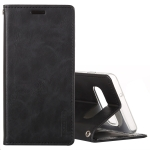 MERCURY GOOSPERY BLUE MOON FLIP Series Crazy Horse Texture Horizontal Flip Leather Case for Galaxy S10+, with Holder & Card Slots & Wallet (Black)