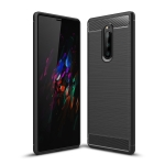 Brushed Texture Carbon Fiber Shockproof TPU Case for Sony Xperia XZ4 (Black)