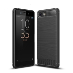 Brushed Texture Carbon Fiber Shockproof TPU Case for Sony Xperia XZ4 Compact (Black)