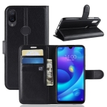 Litchi Texture Horizontal Flip Leather Case for Xiaomi Mi Play, with Wallet & Holder & Card Slots (Black)