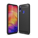 Brushed Texture Carbon Fiber TPU Case for Xiaomi Redmi Note 7 (Black)