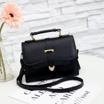 Solid Color PU Leather Small Square Bag Casual Crossbody Trendy Handbag (Black)