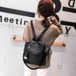 Multi-function Casual Double Shoulder Crossbody Soft PU Leather Backpack Ladies Diagonal Bag with Bear Keychain, Small Size (Black)