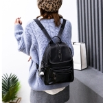 Solid Color Multi-function PU Leather Double Shoulders Bag Crossbody Casual Handbag (Black)