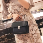 Solid Color Casual Small Square Shoulder Bag Ladies Handbag (Black)
