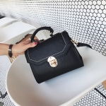 Solid Color Fresh Small Square Bag Casual Shoulder Bag Ladies Handbag (Black)