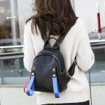 Solid Color Casual Shoulder Bag Litchi PU Leather Soft Backpack Bag (Black)