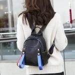 Solid Color Casual Shoulder Bag Litchi PU Leather Soft Backpack Bag (Black)