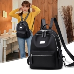 Function Waterproof Oxford Cloth Solid Color Backpack Handbag (Black)