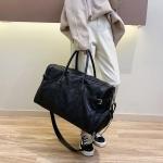 Nylon Cloth Shoulder Sports Gym Handbag Travel Bag (Black)