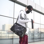 Waterproof Nylon Cloth Shoulder Sports Gym Handbag Travel Bag (Black)