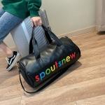 PU Leather Inclined Shoulder Sports Gym Bag Travel Handbag (Black)
