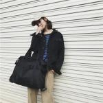 Nylon Inclined Shoulder Sports Gym Bag Travel Handbag (Black)