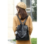Casual Shoulder PU Leather Backpack Ladies Messenger Bag with Plush Ball (Black)