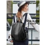 Solid Color Casual Shoulder PU Leather Backpack Ladies Handbag (Black)