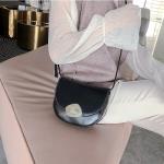 Retro Solid Color Round Flip Cover Casual Small Bag Ladies Shoulder Messenger Bag (Black)
