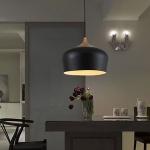 YWXLight Solid Wood Aluminum Single Head Retro Bucket Creative Pendant Lights (Black)