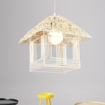 YWXLight Bamboo Rattan Hang Lamp Pendant Light with E27 Bulb (Primary color)