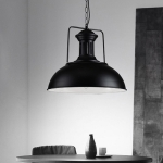 YWXLight Black Pot Lid Hanging Lamp Pendant Lights with E27 Bulb (Cold White)