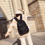 Small Footprint Pattern Waterproof Oxford Cloth Shoulder Backpack Casual Handbag Shoulder Bag (Black)