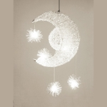 YWXLight Simple Chandelier Children's Room Bedroom Restaurant Chandelier Creative Star Moon Combination Dream Warm Light (White Light)