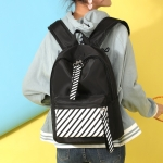 Casual Striped Waterproof Nylon Backpack Handbag (Black)