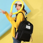Solid Color  Double Zipper Design Casual Backpack Bag Girl Handbag (Black)