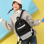 Solid Color Casual Handbag Double Zipper Design Mesh Girl Backpack Bag (Black)