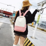 Casual Stitching Backpack Bag Girl Fresh Handbag (Pink)