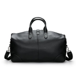 Leisure PU Leather Shoulder Travel Bag Sport Handbag (Black)
