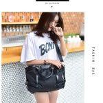 Leisure Nylon Shoulder Travel Bag Sport Handbag (Black)