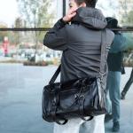 PU Leather Shoulder Travel Bag Leisure Men Handbag (Black)