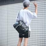 PU Leather Shoulder Travel Bag Leisure Sport Handbag (Color:Black Size: + L)