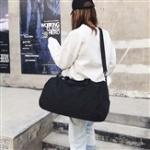 Nylon Shoulder Travel Bag Leisure Sport Handbag with Shoes Socket (Black)