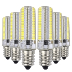 YWXLight 6PCS E12 7W AC 110-130V 152LEDs SMD 3014 Energy-saving LED Silicone Lamp (Cold White)
