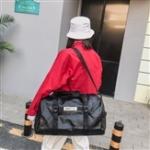 PU Leather Shoulder Travel Bag Leisure Sport Handbag with Shoes Socket (Black)