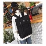 Canvas School Backpack Casual Handbag Double Shoulder Bag (Black)