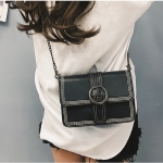 Retro PU Leather Small Square Ladies Messenger Bag Shoulder Bag (Black)