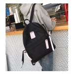 Casual Nylon School Backpack Handbag Double Shoulder Bag (Black)