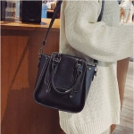 Casual Multifunctional PU Leather Shoulder Bag Ladies Handbag Rivet Crossbody Bag (Black)
