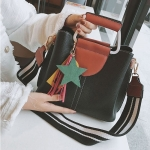 Casual PU Leather Litchi Texture Shoulder Bag Messenger Bag Ladies Handbag (Black)